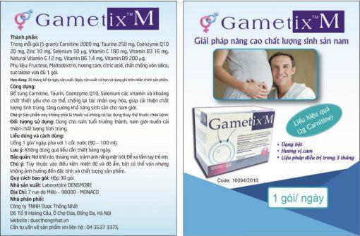 thuốc gametix m điều trị vô sinh nam