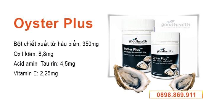 thành phần tinh chất hàu oyster plus