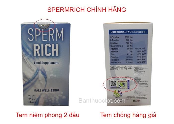phân biệt sản phẩm sperm rich chính hãng