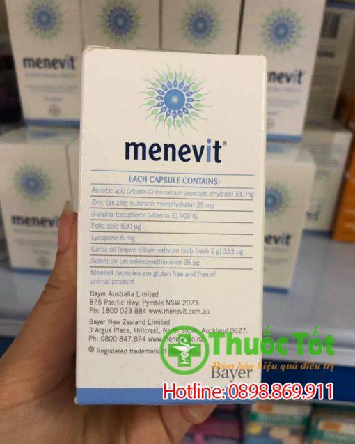 thuốc menevit tăng chất lượng tinh trùng