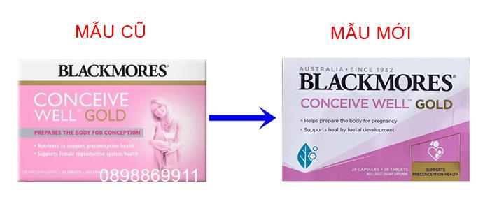 blackmores conceive well gold mẫu cũ và mẫu mới