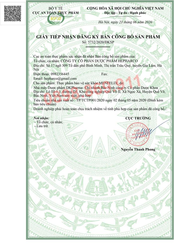 giấy tiếp nhận bản đăng ký sản phẩm menfelix