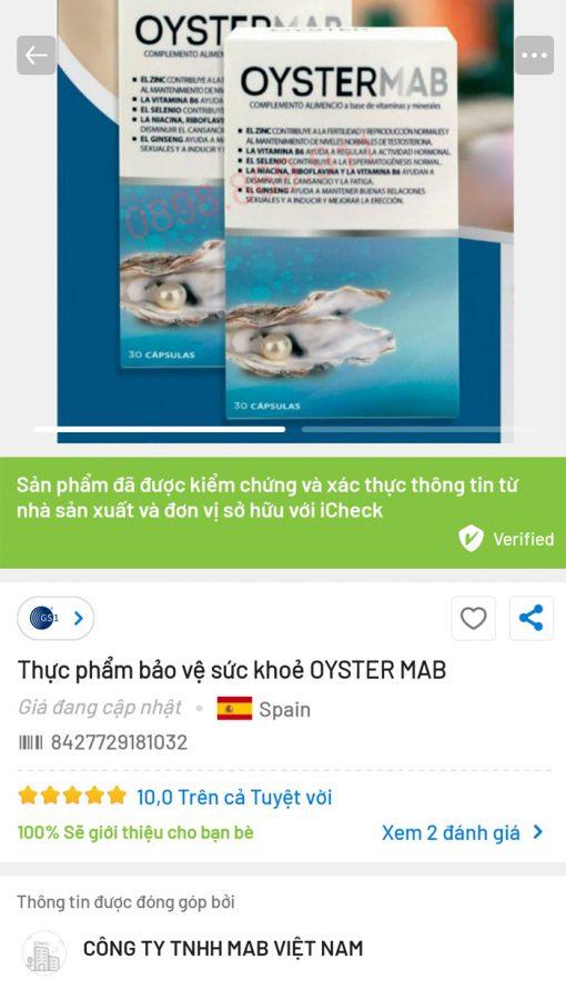 oyster mab trên ứng dụng icheck